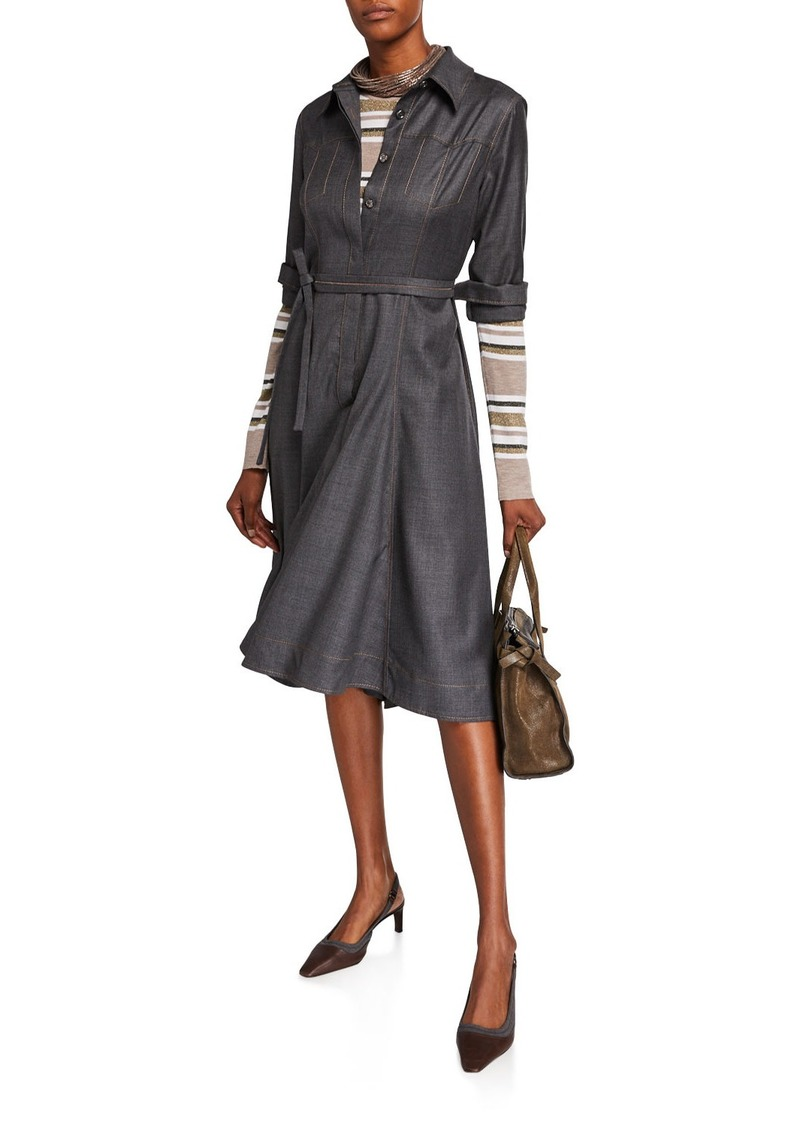 Brunello Cucinelli Grisalia Western Chambray Shirtdress
