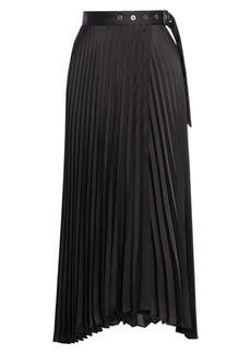 Brunello Cucinelli Grommet Belted Pleated Midi Skirt