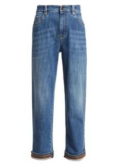 Brunello Cucinelli Grosgrain-Trimmed Straight-Leg Jeans