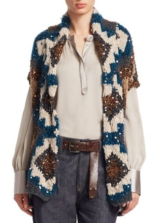 Brunello Cucinelli Hand Knit Short-Sleeve Cashmere Cardigan
