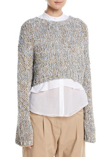 Brunello Cucinelli Hand-Knit Waxed Tweed Cropped Pullover Sweater