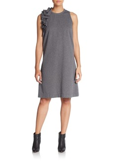 Brunello Cucinelli Heathered Ruffle Shift Dress