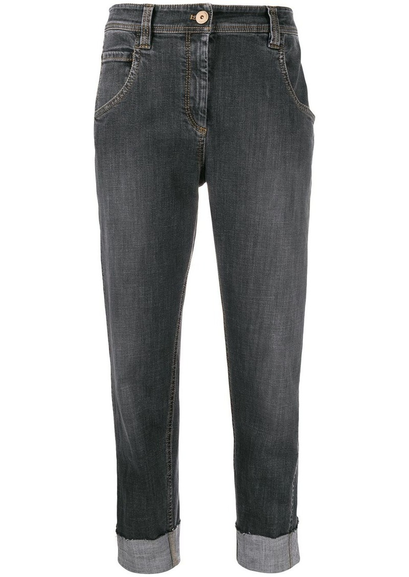 Brunello Cucinelli high rise cropped jeans
