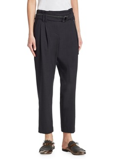 Brunello Cucinelli High-Waist Cropped Tapered Trousers