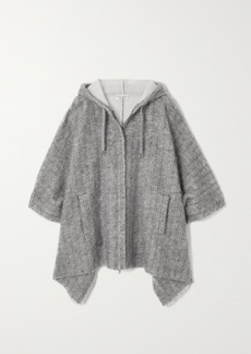 Brunello Cucinelli Hooded Pinstriped Knitted Poncho