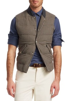 Brunello Cucinelli Houndstooth Wool & Cashmere Puffer Vest