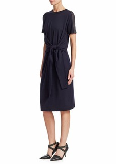 Brunello Cucinelli Jersey Wool Tie-Front Dress