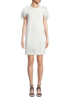 Brunello Cucinelli Jewel-Neck Cap-Sleeve Felpa Shift Dress with Feather Trim