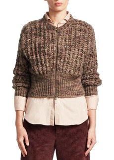 Brunello Cucinelli Knit Cashmere & Silk Cropped Cardigan