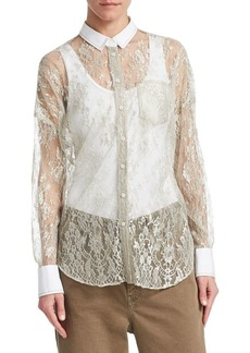 Brunello Cucinelli Lace Button-Down Blouse