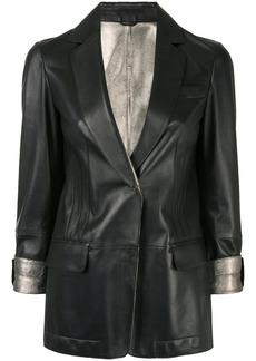 Brunello Cucinelli lamé-detail leather blazer