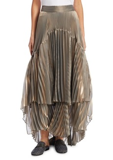 Brunello Cucinelli Lame Hi-Lo Pleated Skirt