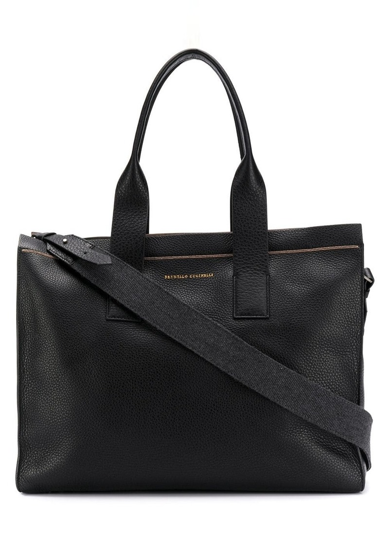 Brunello Cucinelli large pebbled leather tote