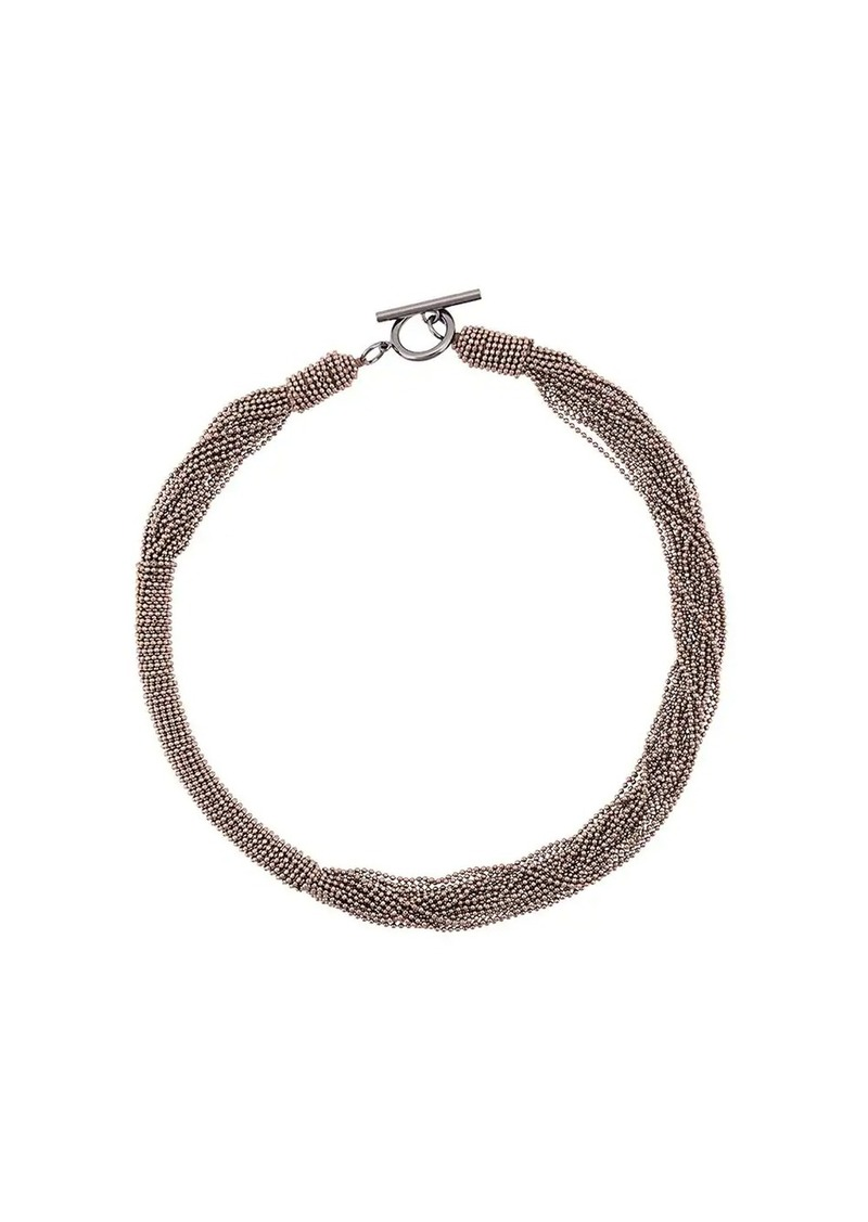 Brunello Cucinelli layered ball chain necklace