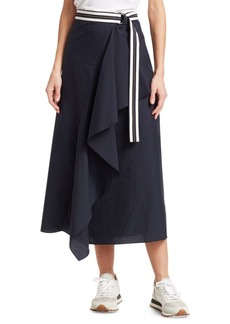Brunello Cucinelli Layered Ruffle Contrast Belted Skirt