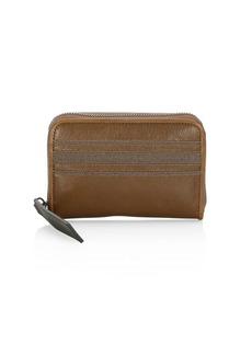 Brunello Cucinelli Leather & Bead Zip Wallet
