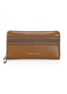 Brunello Cucinelli Leather & Monili Zip Wallet