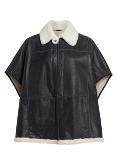 Brunello Cucinelli Leather & Shearling Monili Poncho Jacket