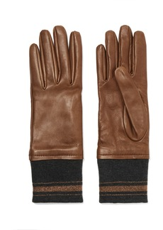 Brunello Cucinelli Leather And Cashmere Gloves