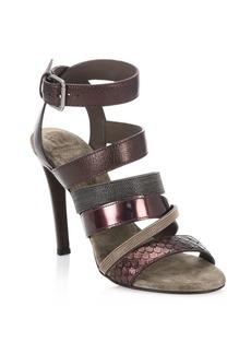Brunello Cucinelli Leather Ankle-Strap Sandals