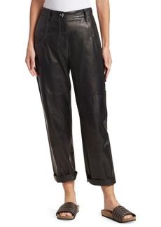 Brunello Cucinelli Leather Carpenter Pants