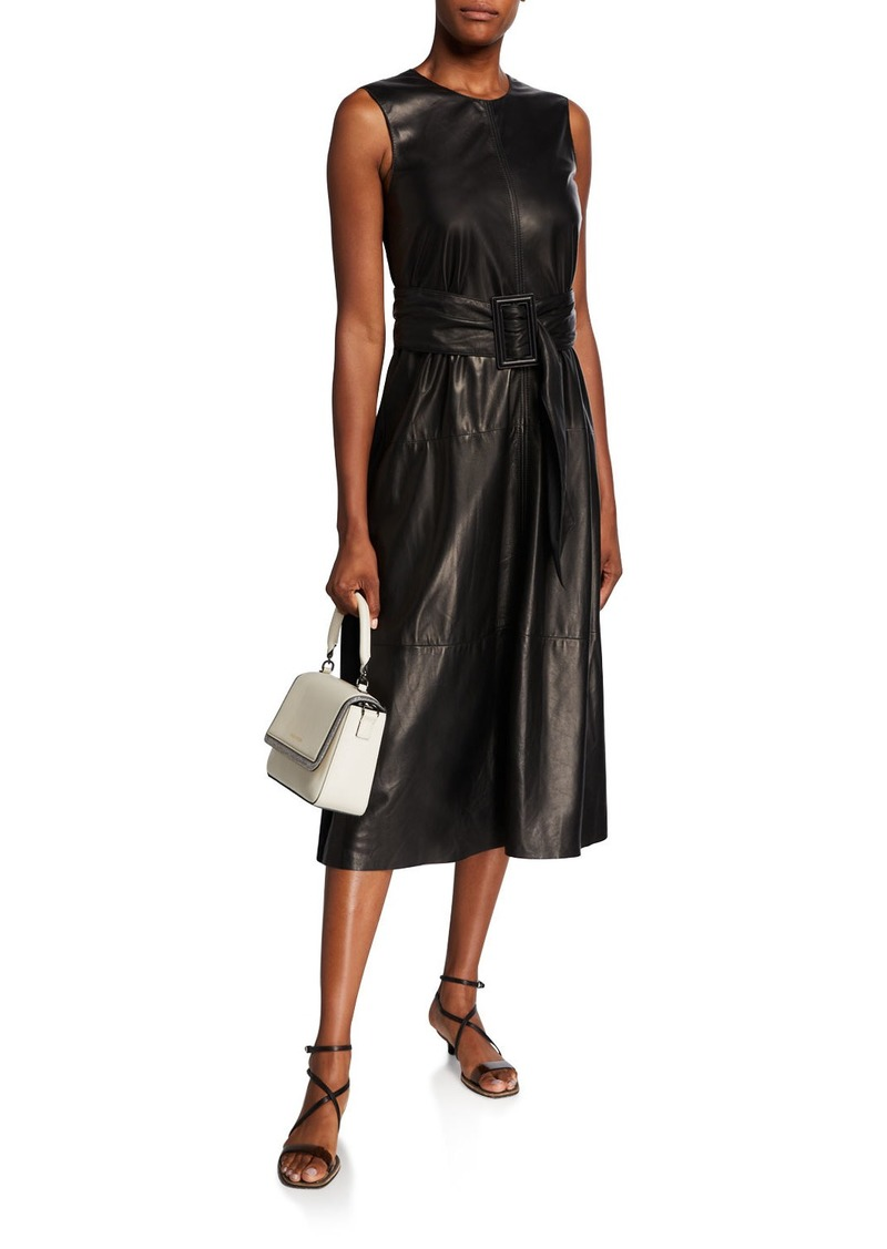 Brunello Cucinelli Leather-Front Sleeveless Cocktail Dress
