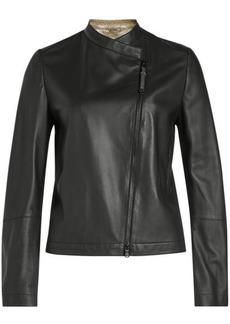 Brunello Cucinelli Leather Jacket with Embellishment