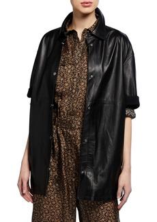 Brunello Cucinelli Leather Short-Sleeve Snap-Front Shirt Jacket