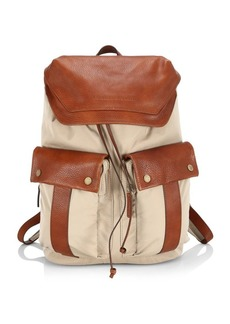 Brunello Cucinelli Leather-Trim Backpack