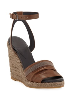 Brunello Cucinelli Leather Wedge Espadrille Sandals with Monili Toe
