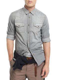 Brunello Cucinelli Leisure-Fit Denim Western Shirt