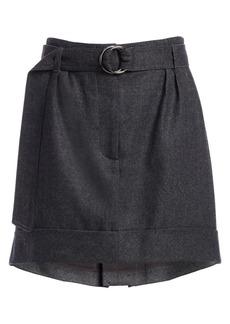 Brunello Cucinelli Light Flannel Stretch Wool Mini Skirt