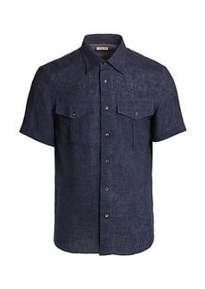 Brunello Cucinelli Linen Short-Sleeve Shirt
