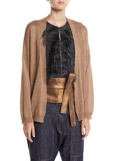 Brunello Cucinelli Linen-Silk Open-Front Paillette Cardigan with Belt