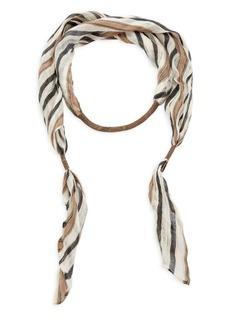 Brunello Cucinelli Linen Striped Necklace Scarf