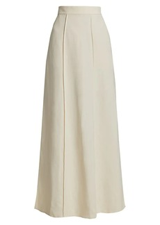 Brunello Cucinelli Linen Twill Slit Maxi Skirt