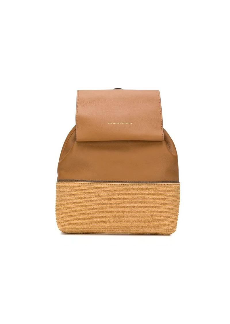 Brunello Cucinelli logo embossed woven panel backpack