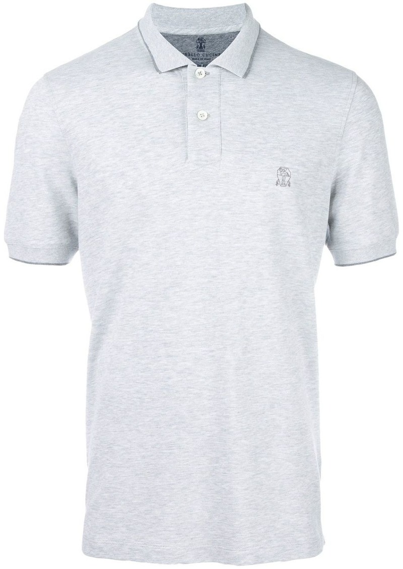 Brunello Cucinelli logo embroidered polo shirt