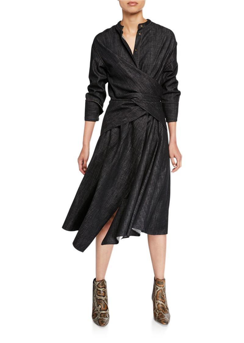 Brunello Cucinelli Long-Sleeve Asymmetric Dress