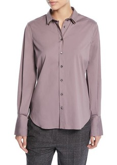 Brunello Cucinelli Long-Sleeve Button-Front Cotton Shirt w/ Monili Trim