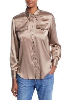 Brunello Cucinelli Long-Sleeve Button-Front Silk Charmeuse Blouse w/ Monili Trim