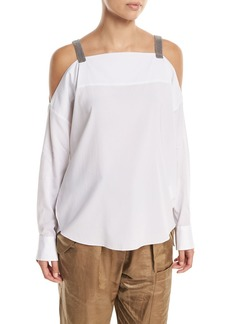 Brunello Cucinelli Long-Sleeve Cold-Shoulder Blouse with Monili Straps
