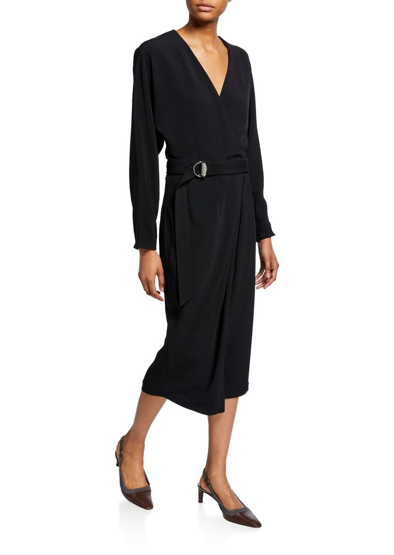 Brunello Cucinelli Long-Sleeve Dress with Monili D-Ring Belt