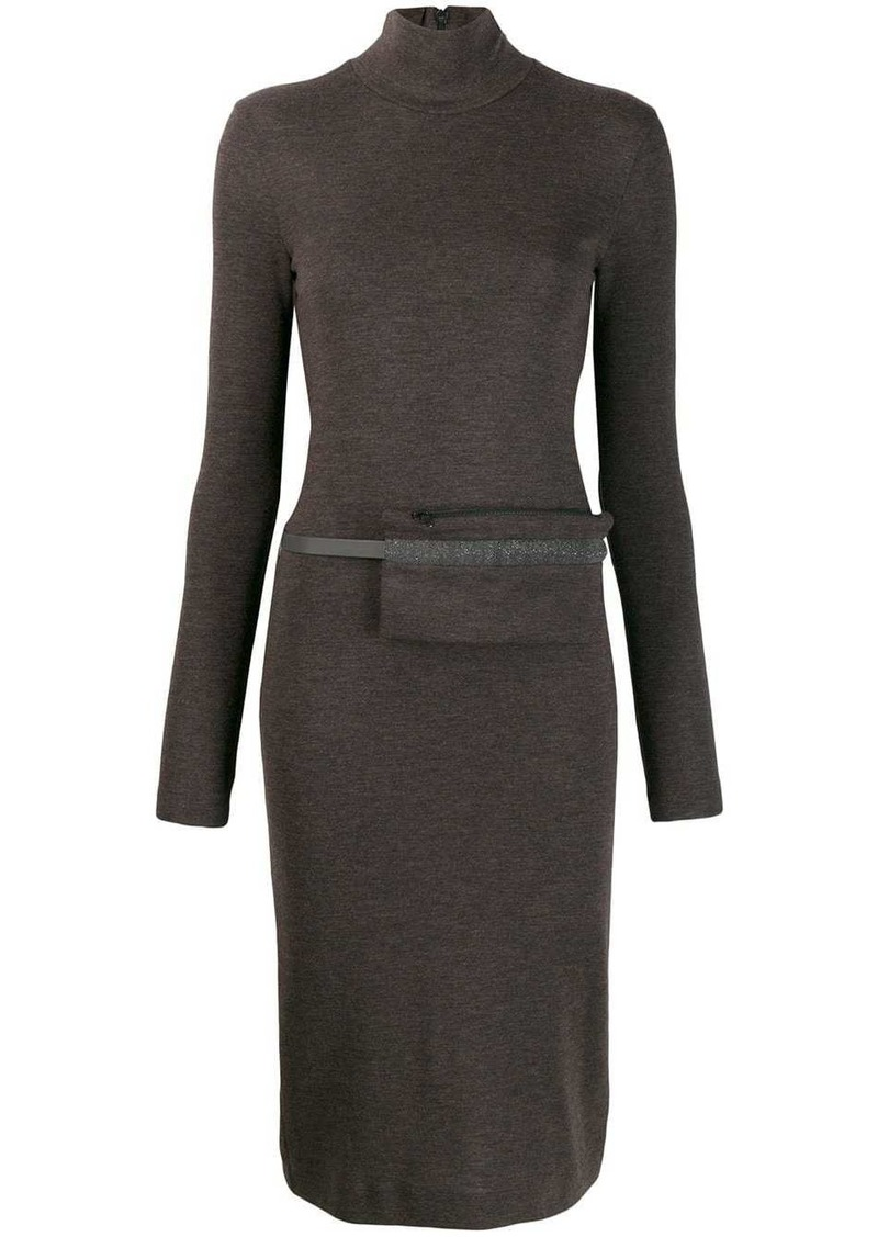 Brunello Cucinelli long-sleeve midi dress