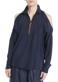 Brunello Cucinelli Long-Sleeve Open-Shoulder Silk Blouse