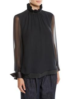 Brunello Cucinelli Long-Sleeve Silk Chiffon Blouse w/ Ruffle Monili Collar