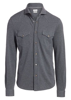 Brunello Cucinelli Long-Sleeve Western Basic Shirt