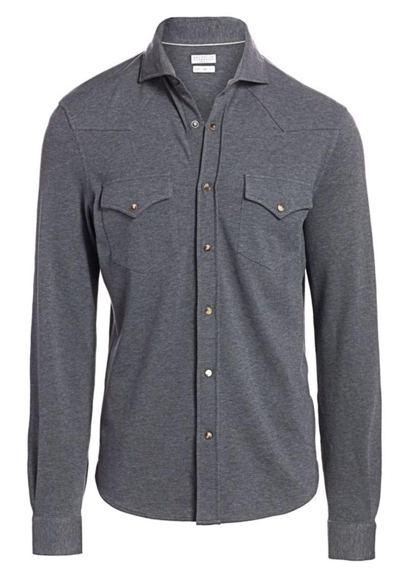 Brunello Cucinelli Long-Sleeve Western Basic Shirt