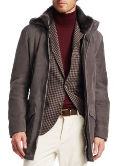 Brunello Cucinelli Long Suede Shearling Jacket