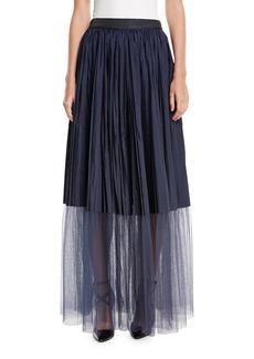 Brunello Cucinelli Long Tulle Pleated Sheet-Hem Skirt